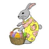 Coniglietto di pasqua con il canestro delle uova Immagine Stock Libera da Diritti