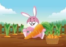 Coniglietto di pasqua con il canestro in pieno delle carote illustrazione di stock