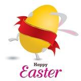 Coniglietto di pasqua con il grande uovo Poco regalo a Pasqua Giorno di Pasqua su fondo bianco Fotografie Stock