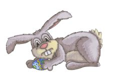 Coniglietto di pasqua con l'uovo di Pasqua immagine stock