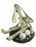 Coniglietto di pasqua con le uova bianche ed i piccioni Immagine Stock