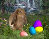 Coniglietto di pasqua con le uova di Pasqua Fotografie Stock Libere da Diritti