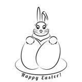 Coniglietto di pasqua con le uova Modello monocromatico su un fondo bianco Fotografie Stock Libere da Diritti