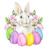 Coniglietto di pasqua con nel fiore di ciliegia Illustrazione dell'acquerello Immagine Stock Libera da Diritti