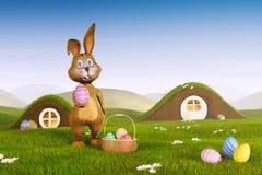 Coniglietto di pasqua con un canestro e le uova di Pasqua Fotografie Stock