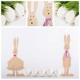 Coniglietto di pasqua del collage con le uova bianche Immagini Stock