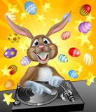 Coniglietto di pasqua DJ con le uova e le stelle Fotografie Stock