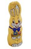 Coniglietto di pasqua dorato del cioccolato Fotografia Stock Libera da Diritti