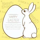 Coniglietto di pasqua e cartolina del modello di festa dell'uovo Fotografia Stock