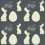Coniglietto di pasqua e modello di festa dell'uovo Fotografie Stock