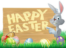 Coniglietto di pasqua e segno delle uova Fotografie Stock Libere da Diritti