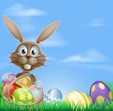 Coniglietto di pasqua ed uova di cioccolato Fotografia Stock