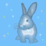 Coniglietto di pasqua grigio lanuginoso illustrazione di stock