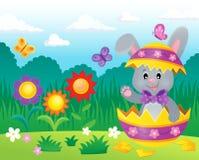 Coniglietto di pasqua nell'immagine 3 di tema del guscio d'uovo Immagine Stock Libera da Diritti