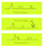 Coniglietto di pasqua, uova di Pasqua e daffodil (tedesco) Fotografia Stock Libera da Diritti