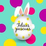 Coniglietto di pasqua - uovo di Pasqua - Pasqua felice - Spagnolo Fotografie Stock Libere da Diritti