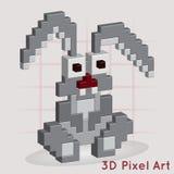 Coniglietto divertente arte del pixel 3D Illustrazione di Stock