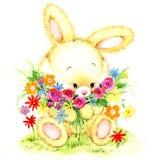 Coniglietto divertente dell'acquerello Toy Bunny fondo per il bambino Fotografia Stock