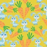 Coniglietto e carote Fondo giallo illustrazione di stock