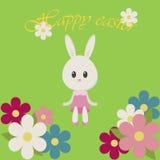 Coniglietto e fiori dell'illustrazione di Pasqua Illustrazione di Stock