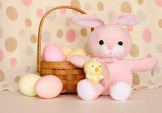 Coniglietto e pulcino di pasqua con il cestino delle uova Immagine Stock