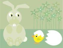Coniglietto e pulcino di pasqua svegli Immagine Stock