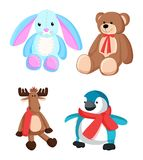 Coniglietto e Teddy Bear Toys Vector Illustration Immagine Stock