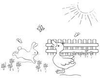 Coniglietto ed anatra svegli Fotografie Stock Libere da Diritti