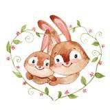 Coniglietto felice con il fumetto dell'acquerello della madre isolato su fondo bianco illustrazione vettoriale