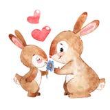 Coniglietto felice con il fumetto dell'acquerello della madre isolato su fondo bianco illustrazione di stock
