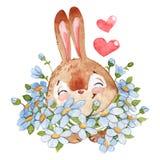 Coniglietto felice con il fumetto dell'acquerello della madre isolato su fondo bianco royalty illustrazione gratis