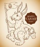 Coniglietto sorridente con una bandiera e canestro per la festa di Pasqua, illustrazione di vettore Fotografie Stock Libere da Diritti