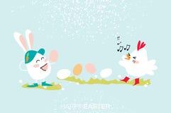 Coniglietto sveglio Canto del pulcino Dancing dell'uovo Pasqua felice Fotografia Stock Libera da Diritti
