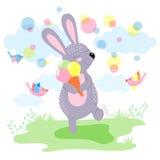 coniglietto sveglio con il gelato estate felice del coniglietto sveglio Fotografia Stock Libera da Diritti