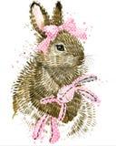 Coniglietto sveglio Coniglietto dell'acquerello Coniglio Acquerello selvaggio del coniglio illustrazione vettoriale