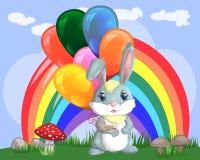 Coniglietto sveglio del fumetto con un'bracciata delle palle su una radura vicino all'arcobaleno Primavera, cartolina royalty illustrazione gratis