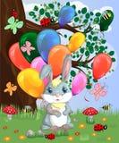 Coniglietto sveglio del fumetto con un'bracciata delle palle in una radura della foresta amore, cartolina illustrazione di stock