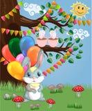 Coniglietto sveglio del fumetto con un'bracciata delle palle in una radura della foresta amore, cartolina illustrazione vettoriale
