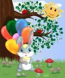 Coniglietto sveglio del fumetto con un'bracciata delle palle in una radura della foresta amore, cartolina royalty illustrazione gratis