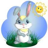 Coniglietto sveglio del fumetto su una radura Primavera, cartolina illustrazione di stock