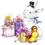 Coniglietto sveglio dell'acquerello e piccoli uccello, regalo e fondo dei fiori Fotografie Stock Libere da Diritti