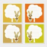 Coniglietto sveglio di autunno sull'illustrazione del fumetto della struttura dell'albero per progettazione della carta dell'appu fotografia stock libera da diritti