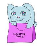 Coniglietto sveglio di colore di vendita di Pasqua con l'insegna della borsa fotografia stock libera da diritti