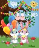 Coniglietto sveglio due con le palle in una radura della foresta Ragazzo e ragazza, molla di concetto, amore royalty illustrazione gratis