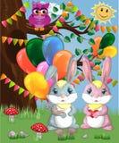 Coniglietto sveglio due con le palle in una radura della foresta Ragazzo e ragazza, molla di concetto, amore illustrazione vettoriale