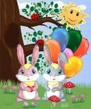Coniglietto sveglio due con le palle in una radura della foresta Ragazzo e ragazza, molla di concetto, amore illustrazione di stock