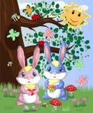Coniglietto sveglio due in una radura della foresta Ragazzo e ragazza, molla di concetto, amore royalty illustrazione gratis
