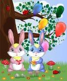 Coniglietto sveglio due in una radura della foresta Ragazzo e ragazza, molla di concetto, amore illustrazione di stock