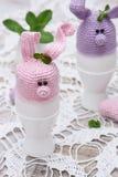 Coniglietto sveglio per le uova di Pasqua Fotografia Stock Libera da Diritti