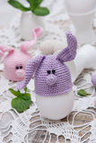 Coniglietto sveglio per le uova di Pasqua Immagini Stock Libere da Diritti
